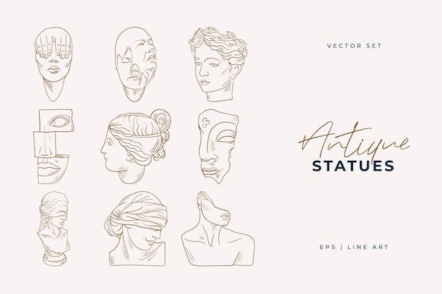 Line art heads of antique statues illustration