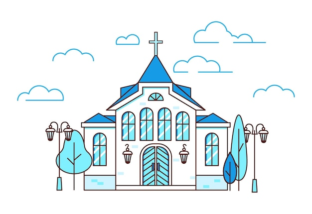 Line art house christian church with trees and lanterns