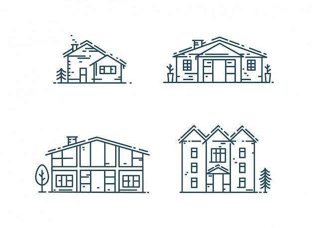 Line art houses icon set