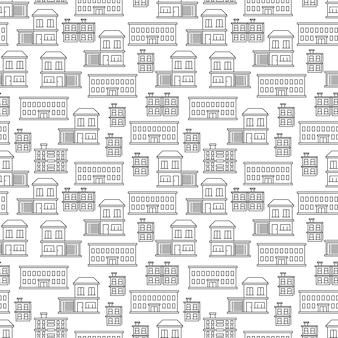 Line art houses seamless pattern design