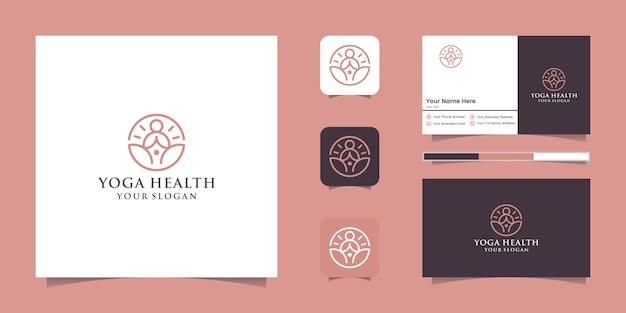 A line art icon logo of a yoga person with buddha line logo and business card design