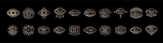 邪悪なシーイングアイの線画アイコンセットゴールド神秘的な秘教の兆候線形スタイル