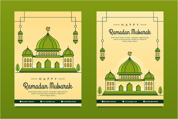 Line art illustrated ramadan mubarak flayer   background design template