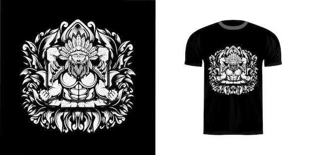 Tシャツデザインのラインアートイラストapache