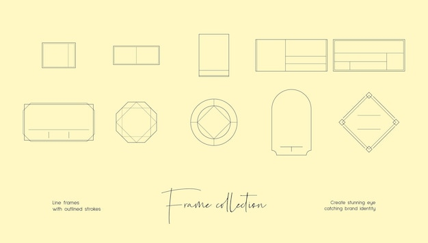 브랜딩 또는 로고 장식 벡터 프레임의 라인 아트 그림 컬렉션