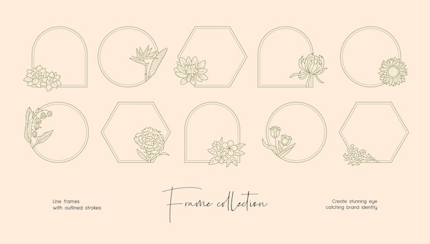 ブランディングやロゴの装飾的なベクトルフレームの線画イラストコレクション