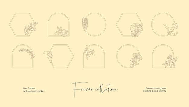 Коллекция иллюстраций линий декоративных векторных рамок для брендинга или логотипа