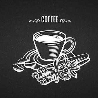 ラインアートイラストカップコーヒー