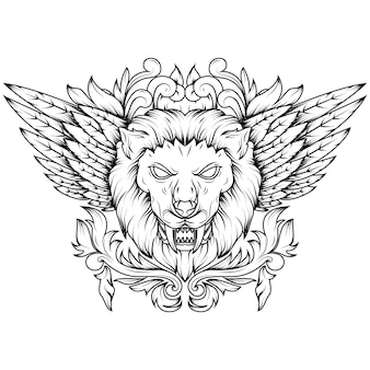 Line art illustration of a golden winged mythical lion head.