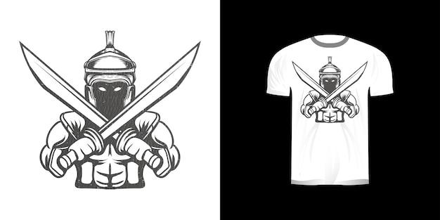 Линия искусства иллюстрации железные доспехи рыцаря для дизайна футболки