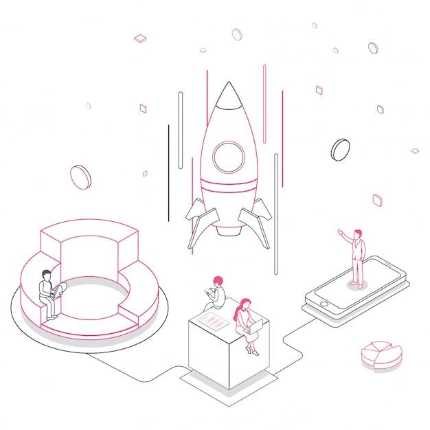 Line art иллюстрация деловых людей запуска успешной ракеты с ноутбуком, смартфоном и элементами на белом
