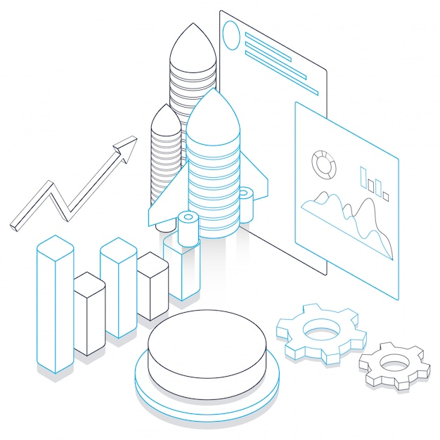 Line art illustration of rocket with infographic elements and website screen on white