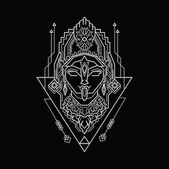 Line art kali with sacred geometry style