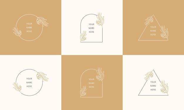 トレンディな線形スタイルのラインアートの葉のロゴのデザインテンプレート。テキスト用のコピースペースのあるフレーム