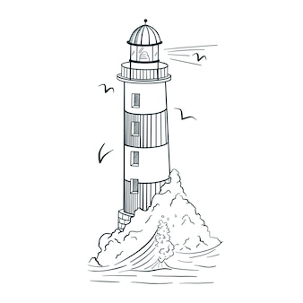 Line art lighthouse illustration. engraving style. hand drawn vintage beacon on island with waves and seagulls for logo, tattoo, emblem, print, sticker, poster, t-shirt, textile. premium vector