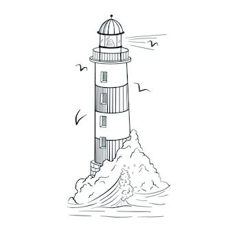 Линия искусства маяк иллюстрации. стиль гравировки. ручной обращается старинный маяк на острове с волнами и чайками для логотипа, татуировки, эмблемы, печати, наклейки, плаката, футболки, текстиля. премиум векторы