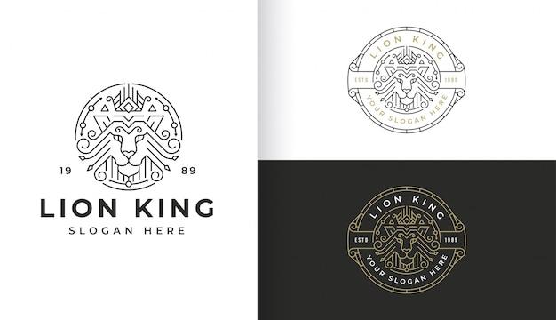Line art lion дизайн логотипа