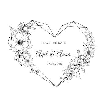Line art amore forma con bella cornice di fiori