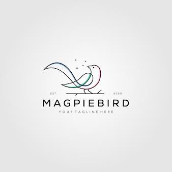 ラインアートカササギ鳥ロゴ