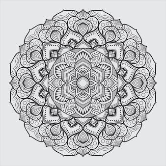 Line art mandala art for coloring book