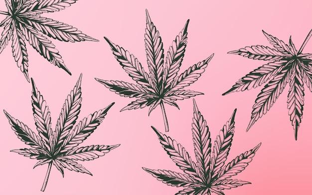 Line art marijuana cannabis leaves on purple background