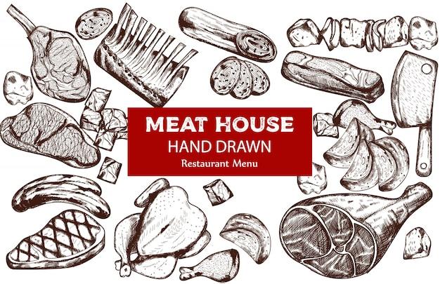 소시지, 스테이크, 돼지 갈비 및 정육점 칼을 사용한 라인 아트 고기 세트
