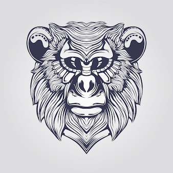 Line art of monkey with decorative face