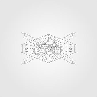 ラインアートオートバイミニマリストロゴヴィンテージイラスト、サンバーストロゴのオートバイ
