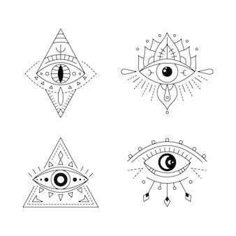 ラインアートの神秘的な目のタトゥーセット。プロビデンスサイト。幾何学的な神秘的な邪悪なシンボル、すべてが目を見る
