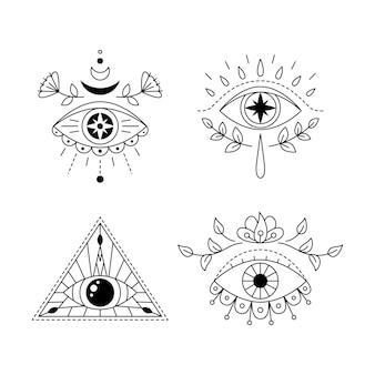 ラインアート神秘的な目のタトゥーセットプロビデンスサイト幾何学的な神秘的な邪悪なシンボル神聖幾何学