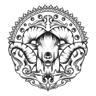 Line art of mythology goat with a beautiful ornament