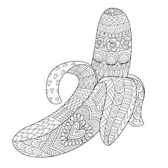 Штриховая графика банана, изолированные на белом
