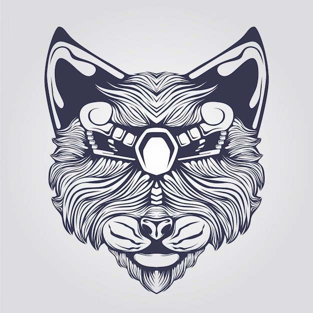 Штриховой рисунок кошки с декоративными глазами