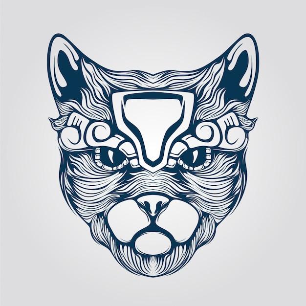 Штриховой рисунок кошки с декоративным лицом