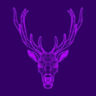 鹿の頭のイラストの線画