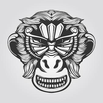 Штриховой рисунок улыбающейся обезьяны
