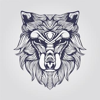장식적인 얼굴을 가진 늑대의 라인 아트