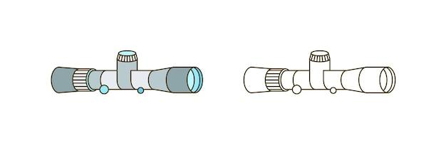 라인 아트 광학 장비 흰색 배경에 고립입니다. 흑백 및 다채로운 개요 망원경 벡터 일러스트 레이 션. 탐색 및 검색을 위한 간단한 장치입니다. 등고선 천문학 도구입니다.