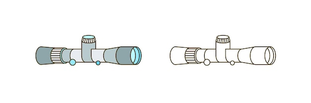 Line art optical equipment isolated on white background. monochrome and colorful outline spyglass vector illustration. simple device for navigation and discovery. contour astronomy tool.