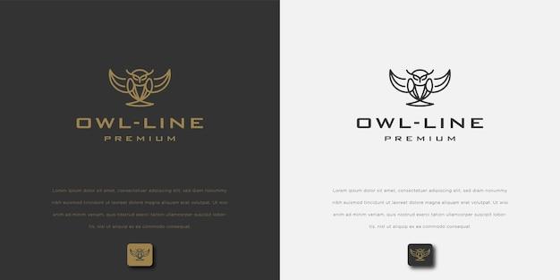 Линия искусства сова с шаблоном дизайна логотипа тела щита