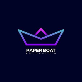Line art paper boat modern colorful gradient logo template