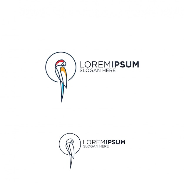 Line art parrot logo design