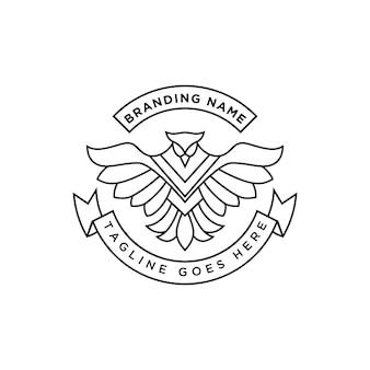 Линия искусства феникс логотип премиум вектор