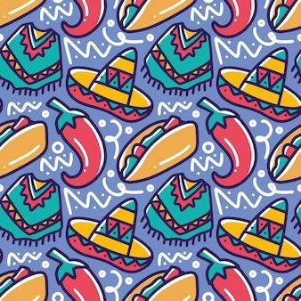 Штриховая картина мексиканского праздника ручной рисунок