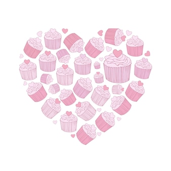 라인 아트 핑크 벡터 손으로 그린 컵케이크 만화 낙서 개체, 기호 및 항목 세트. 하트 모양 구성