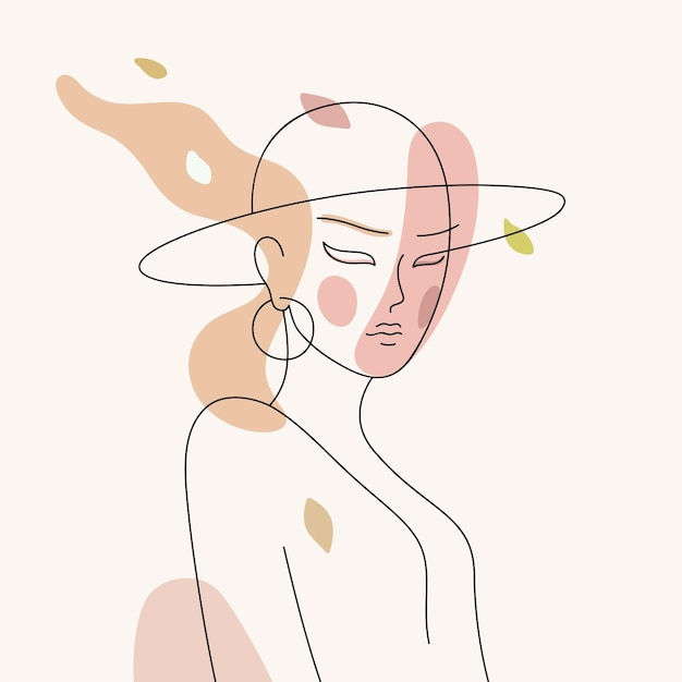 Line art portrait of elegant woman with a hat young beautiful girl abstract vector illustration