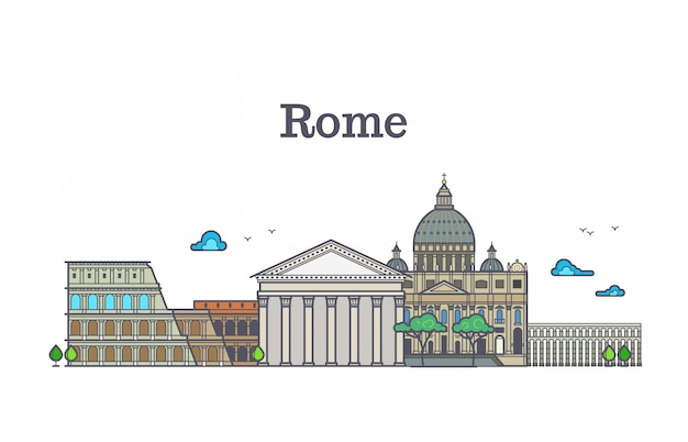 Line art rome architecture, italy buildings vector illustration