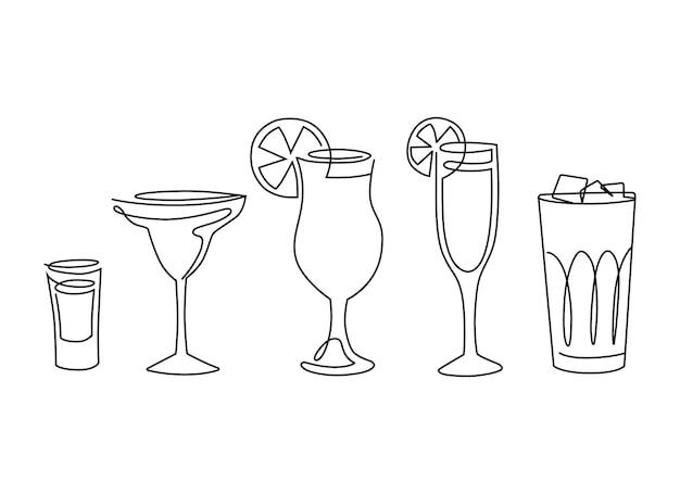 アルコール飲料のラインアートセット。フルーツとカクテル