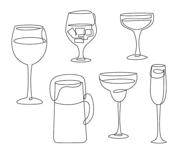 アルコール飲料とグラスのラインアートセット。