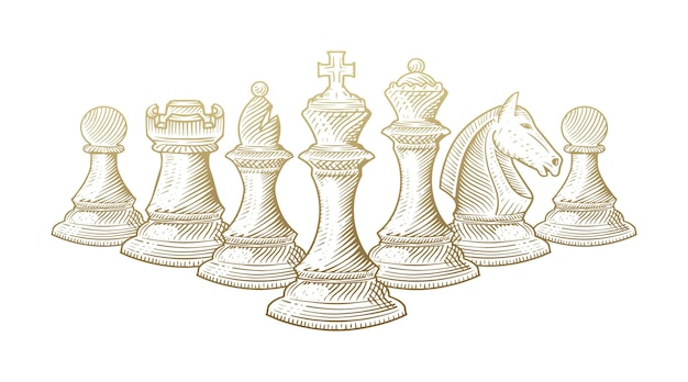 Line art sketch of all chess pieces aligned.